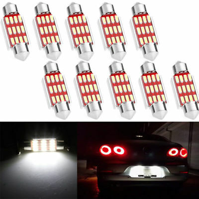 10X 36mm C5W 12SMD LED Canbus Festoon Dome Lamp Car License Plate Light Bulbs