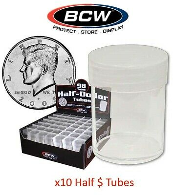 10 Round Half Dollar Coin Storage Tubes Clear Plastic Lot Screw Caps BCW Free Sh