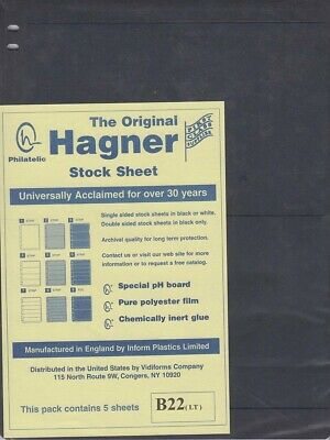 Stamp Stock Sheets Double Sided 2 Rows Pack of 5 Black Pages Hagner High Quality