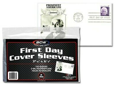 First Day Cover Sleeves Ultra Thin FDC 100 Units 3 15/16 X 6 7/8 BCW New Free SH