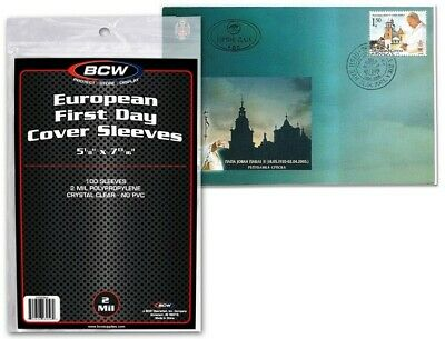 European FDC Sleeves 100 First Day Cover Ultra Thin 2 Mil 5 1/8 x 7 13/16 BCW