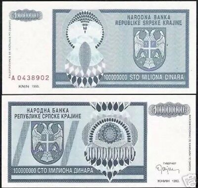CROATIA Knin 100,000,000 (100 Million) Dinara, 1993, P-R15, aUNC World Currency