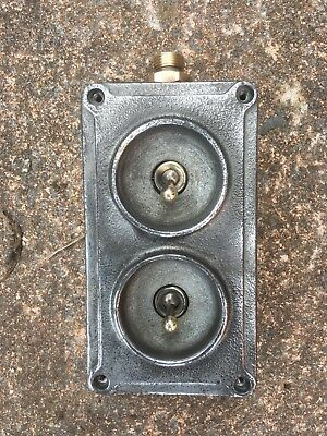 Vintage Industrial Crabtree 2 Gang Light Switch Bank & Trunking A15052