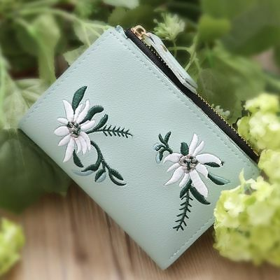 Mini Bifold Simple Flower Coin Purse Photo Print Short Pocket PU Wallet Clutch