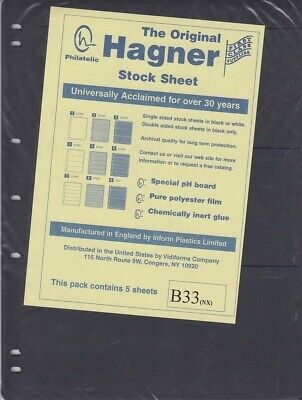 Stamp Stock Sheets Double Sided 3 Rows Pack of 5 Black Pages Hagner High Quality