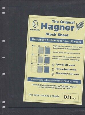 Stamp Stock Sheets Double Sided 1 Row Pack of 5 Black Pages Hagner High Quality