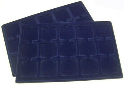 2 Lighthouse Blue Coin Storage Trays Up 2 15 2x2 Holders Fit Box Suitcase Cases