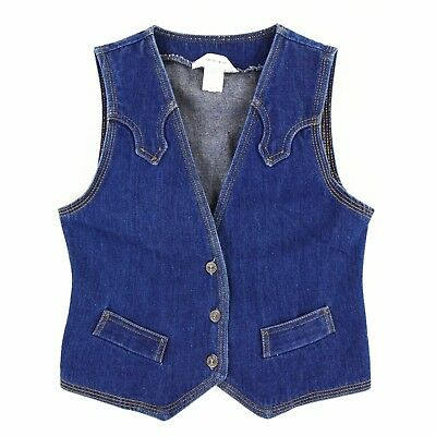 1970's Vintage Women's XS Levi's Dark Wash Denim Vest Western Vest Slim Fit 0 2