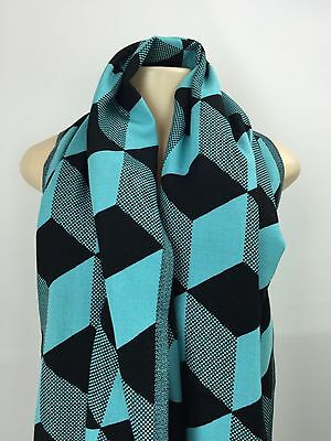 Ivivva Wrap Up And Go Scarf Black Tender Skye Blue Black NWT Cotton Wool