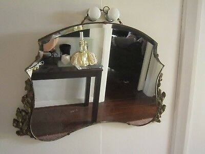 Vintage Collectable Retro Bevelled Edged Mirror With Brass Scrolling To Sides