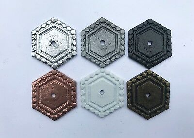 Hexagon Decorative Back Plate Base for Knobs, Drawer, Cabinet, Pulls - 6 COLORS