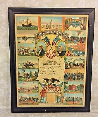 Antique Patriotic Sons of America Washington Camp #202 Lithograph Induction Doc