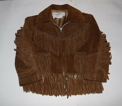 Vintage Saks Fifth Avenue Youth Fringe Leather Jacket Cowboy Davy Crockett Boys