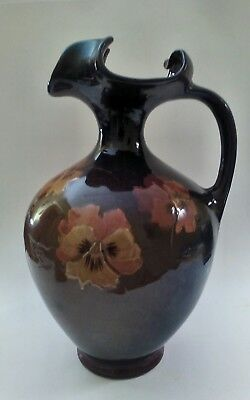 J.B. OWENS AMERICAN ART POTTERY UTOPIAN TALL PITCHER or VASE, FLARED NECK, PANSY