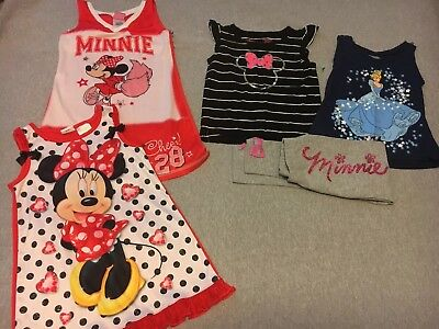 Lot Of Disney Girl Clothes 4/5 Nightgowns, tops and pants