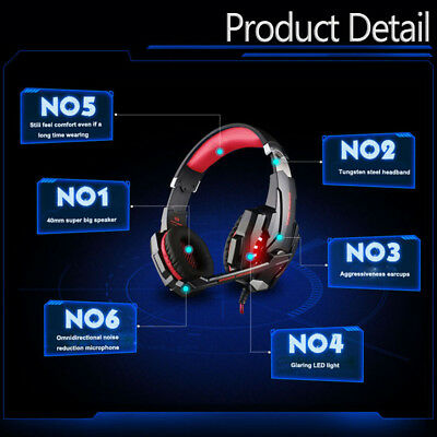 KOTION EACH G9000 3.5mm Gaming Headphone Headset Noise Cancellation Mic LED