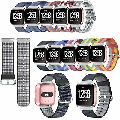 Woven Nylon Fabric Wristband Classic Buckle Band Strap for Fitbit Versa Watch #