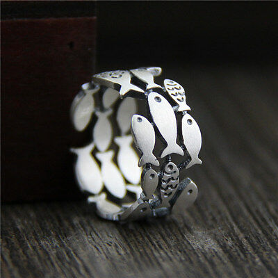 Vintage Antique 990 Sterling Silver Cluster Fish Wrap Around Wide Band Ring