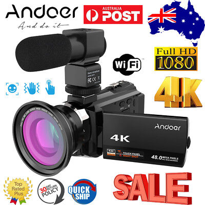 "3.0"" 4K 48MP Wifi Ultra HD Camcorder Video Digital Handy Camera DVR+Macro Lens"