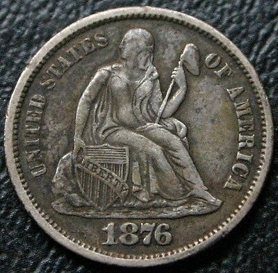 1876 Seated Liberty Dime XF+ Extra Fine Original Toning 10C Silver Coin