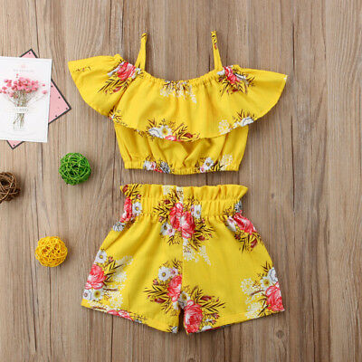2PCS Kids Baby Girl Floral Halter Ruffled Tops T-shirt+Shorts Outfit Set Clothes