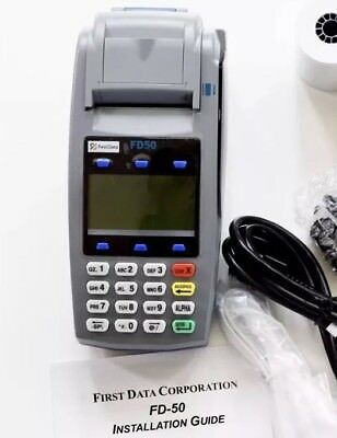 First Data Fd-50 Credit Card Terminal W/power Adapter & Paper Rolls New In Box