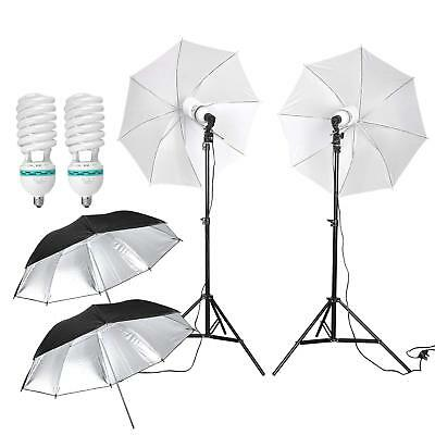 "2x Reflector 125w Light Umbrella 33"" Studio Lighting Soft Mount Kit"