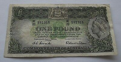 1961 Australia £1 One Pound Coombs / Wilson Banknote In Vf-Ef Condition🌟