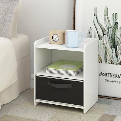 DEVAISE Wood End Table Night Stand Bedside Table Storage Shelf with Bin Drawer