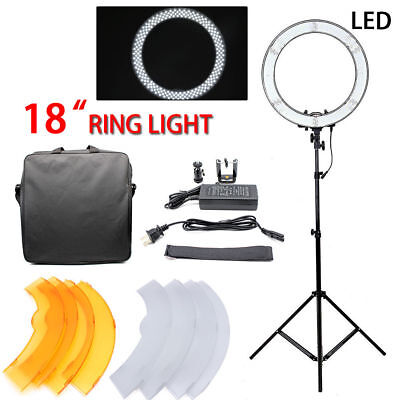 """Studio Dimmable 18"""" 48.5cm 55W LED Ring Light With Light Stand Kit Video Photo"""