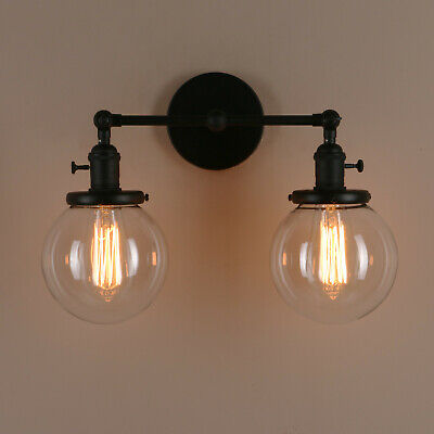 """5.9"""" Retro Sconce Wall Light Twins Globe Shades Vintage Wall Lamp w/Swicithes"""