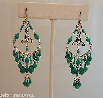 Boho Celtic Trinity Knot Earrings with turquoise glass beads