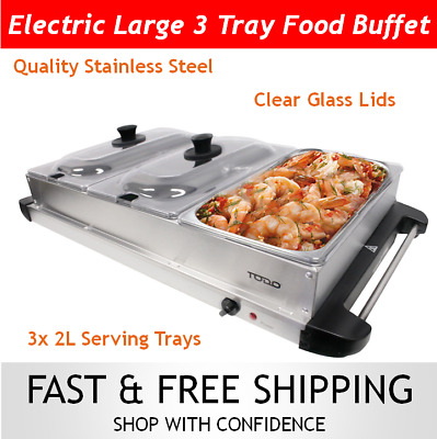Electric Buffet Station Food Warmer Server 3 Tray Large Bain Marie Entertaining
