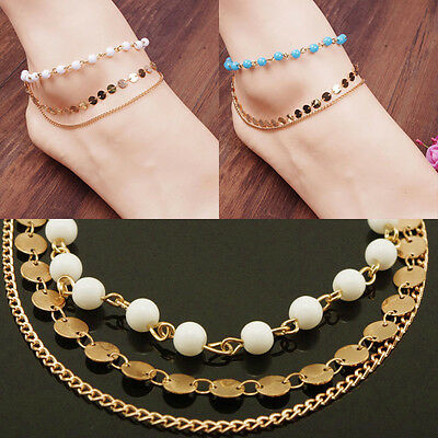 2017 New Fashion Multilayer Handmade Beaded Pearl Sequins Anklet 220mm New Pop*