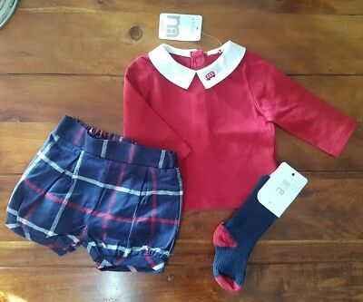 NEW Girls 3 piece outfit RRP £22 red check up to 3 months size