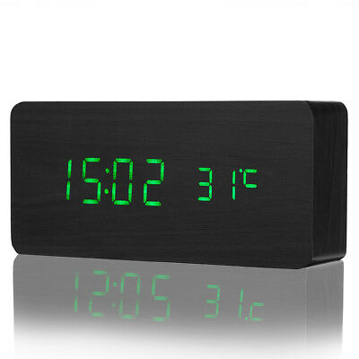 LED Digital Wooden Alarm Clock Time Temperature Calendar Display with USB Cable
