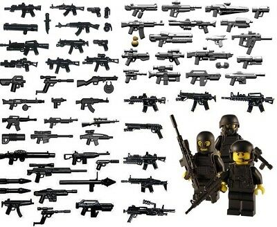 Massive Over 130 Army Swat Police Navy Weapons And Gun Inc Brickarms - Fits Lego