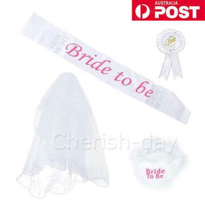 Hen's Night Ladies Girls Bride to Be Party Sashes Badge Sash Garter Veil OZ
