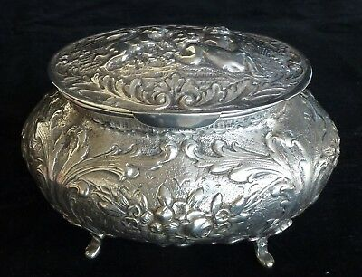 Antique 800 Silver Box with Cherubs, Lidded, from Germany,Perfect Condition
