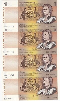 R78 $1 Johnston/Stone Twin Set of Four Notes (Not in Folder) Unc