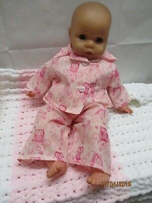 Handmade clothes for Annabell/Baby Doll Pyjamas -  2pce set - Pink Owl Design