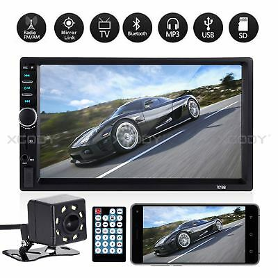 """Bluetooth 7"""" Car Stereo Radio 2 DIN MP5 Player Touch Screen U-Disk + 8LED Camera"""