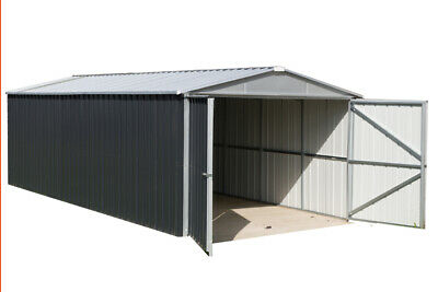 5x3m 17ft x 10ft METAL GARAGE APEX ROOF HOT DIPPED STEEL DOUBLE DOORS 17' x 10'