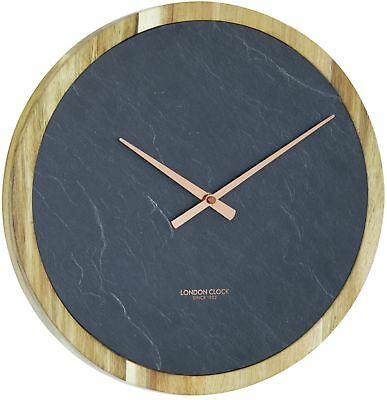 London Clock Company Urban Luxe 35cm Carbon Round/Solid Wood Wall Clock in Blue