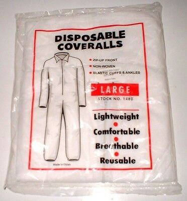 AES White Disposable Lightweight Coveralls Bunny Suit Paint 1480 Large