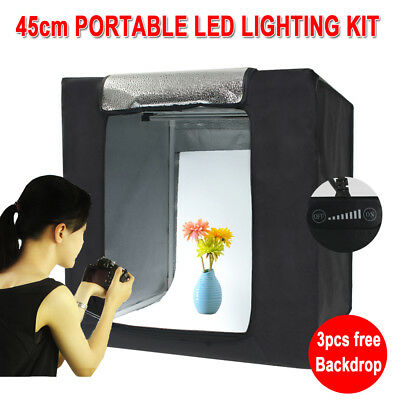 Photo Studio Portable LED Light Room Lighting Tent Kit Cube Soft Box + Backdrops