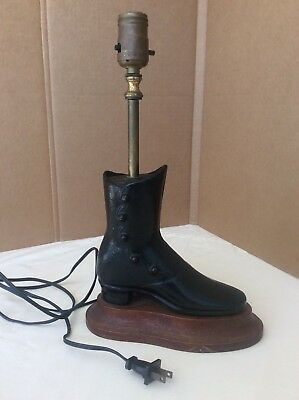 Antique Cast Iron Mannequin Button Down Victorian Shoe Boot Working Lamp