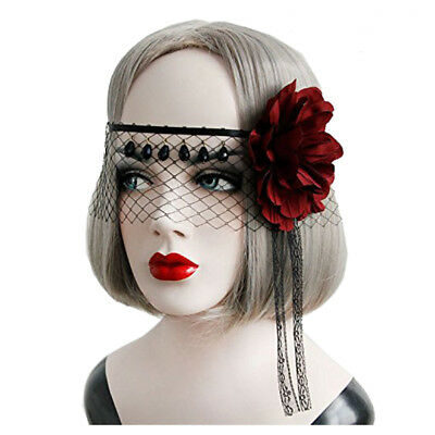 Retro Lace Veil Cover Headdress Funny Party Half Face Death COS Masks Sexy  M9O6