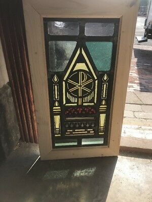 SG 2248 antique painted in fired religious symbolism throne chair Window 15 x 2…