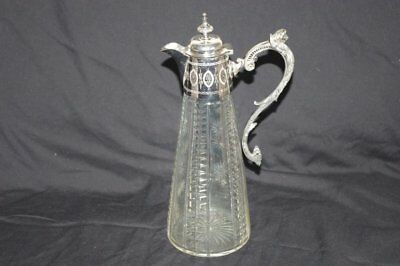 Antique Victorian Silver Plate Cut Glass Claret Jug Decanter stock code 3495